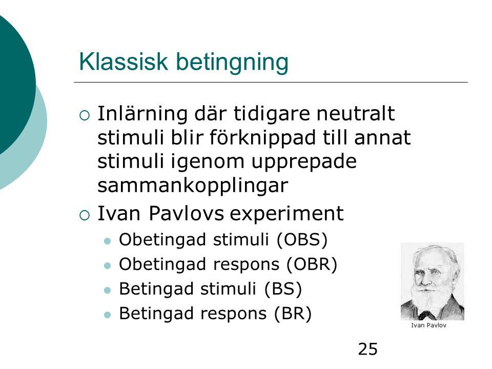 25 Klassisk betingning  Inlärning där tidigare neutralt stimuli blir förknippad till annat stimuli igenom upprepade sammankopplingar  Ivan Pavlovs e
