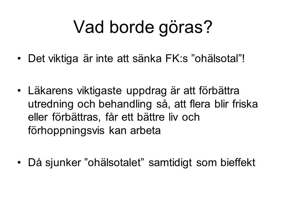 Vad borde göras. Det viktiga är inte att sänka FK:s ohälsotal .