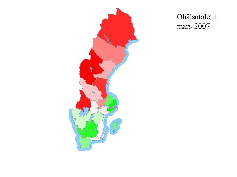 Ohälsotalet varierar inom länen Norrbottens län 48 (kvinnor 57,8, män 39) Variation Max 67,4(69,3 resp.