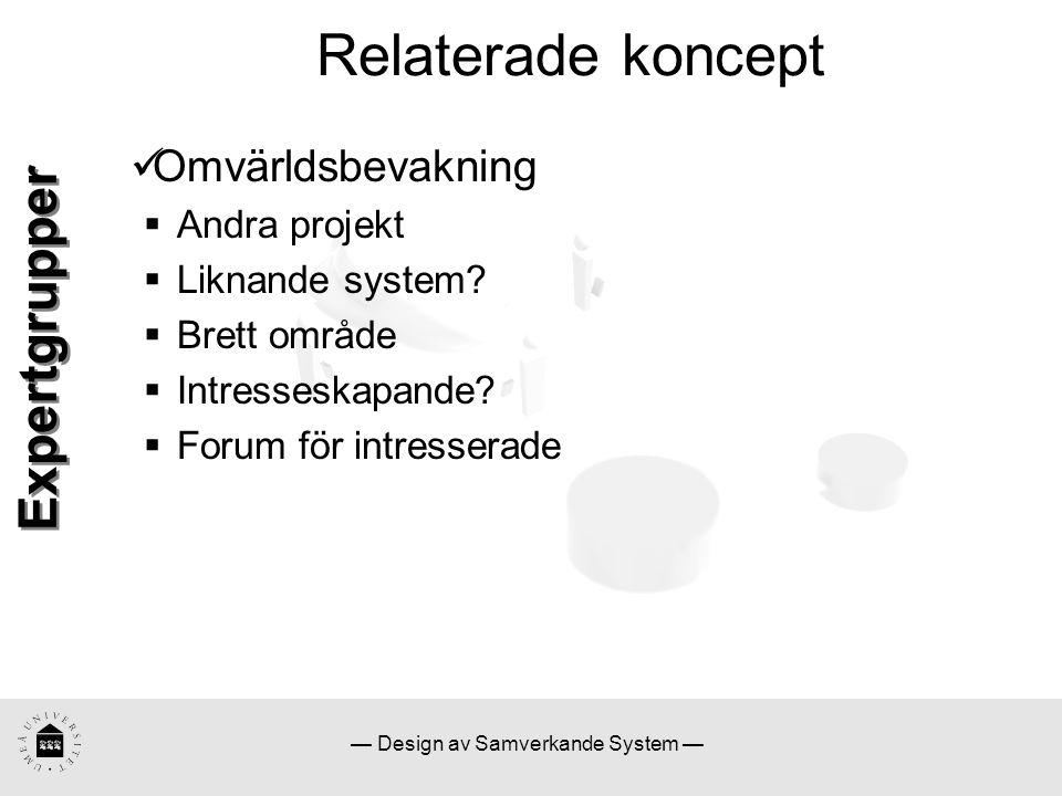 — Design av Samverkande System — Relaterade koncept Omvärldsbevakning  Andra projekt  Liknande system?  Brett område  Intresseskapande?  Forum fö