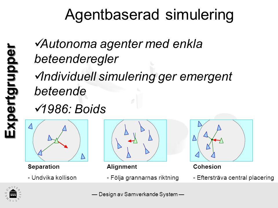 — Design av Samverkande System — Agentbaserad simulering Tillämpningar:  Simulering av folkmassor SimPed – Flöde av fotgängare Massive – 3D-animering Expertgrupper