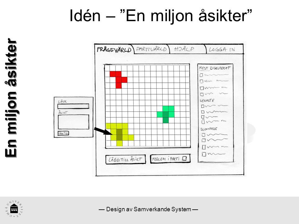— Design av Samverkande System — Idén – En miljon åsikter En miljon åsikter