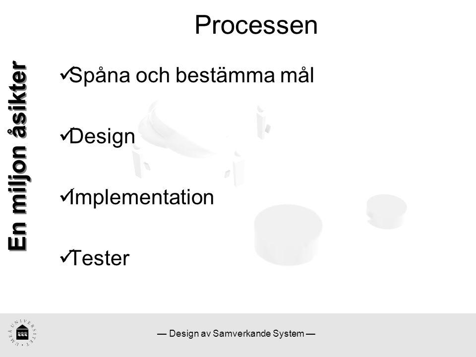 — Design av Samverkande System — Processen En miljon åsikter Spåna och bestämma mål Design Implementation Tester