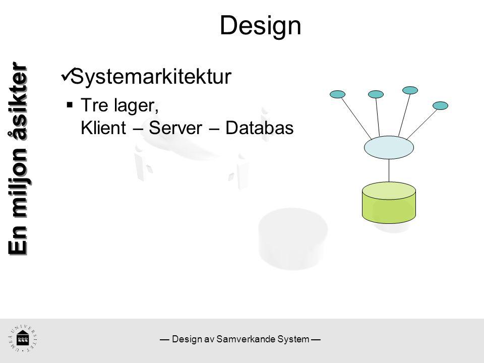 — Design av Samverkande System — Design En miljon åsikter Systemarkitektur  Tre lager, Klient – Server – Databas