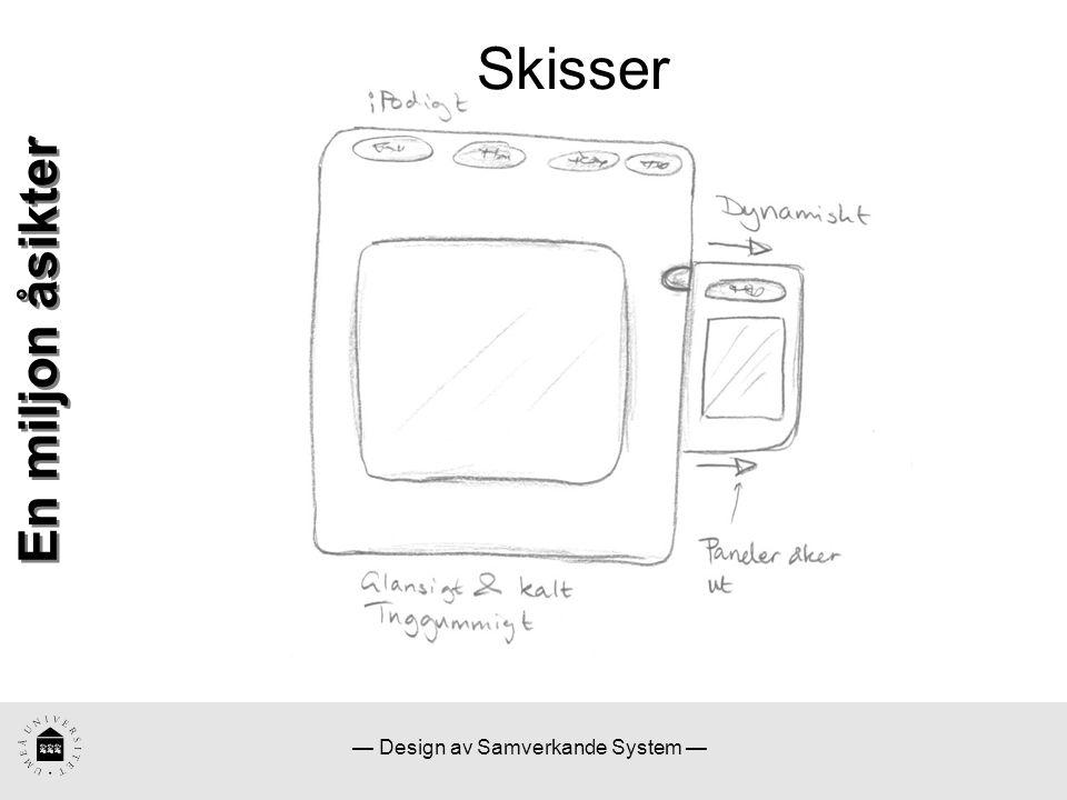 — Design av Samverkande System — Skisser En miljon åsikter