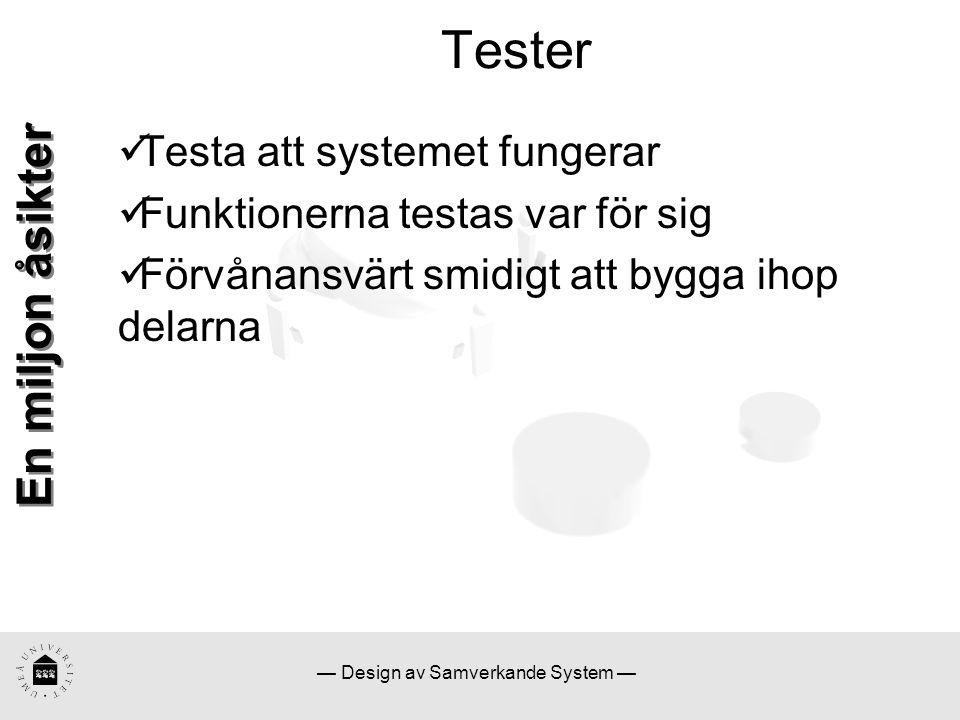— Design av Samverkande System — Tester En miljon åsikter Testa att systemet fungerar Funktionerna testas var för sig Förvånansvärt smidigt att bygga ihop delarna