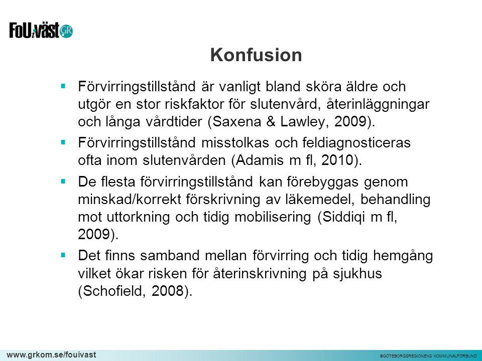 www.grkom.se/fouivast ©GÖTEBORGSREGIONENS KOMMUNALFÖRBUND Konfusion  Förvirringstillstånd är vanligt bland sköra äldre och utgör en stor riskfaktor f