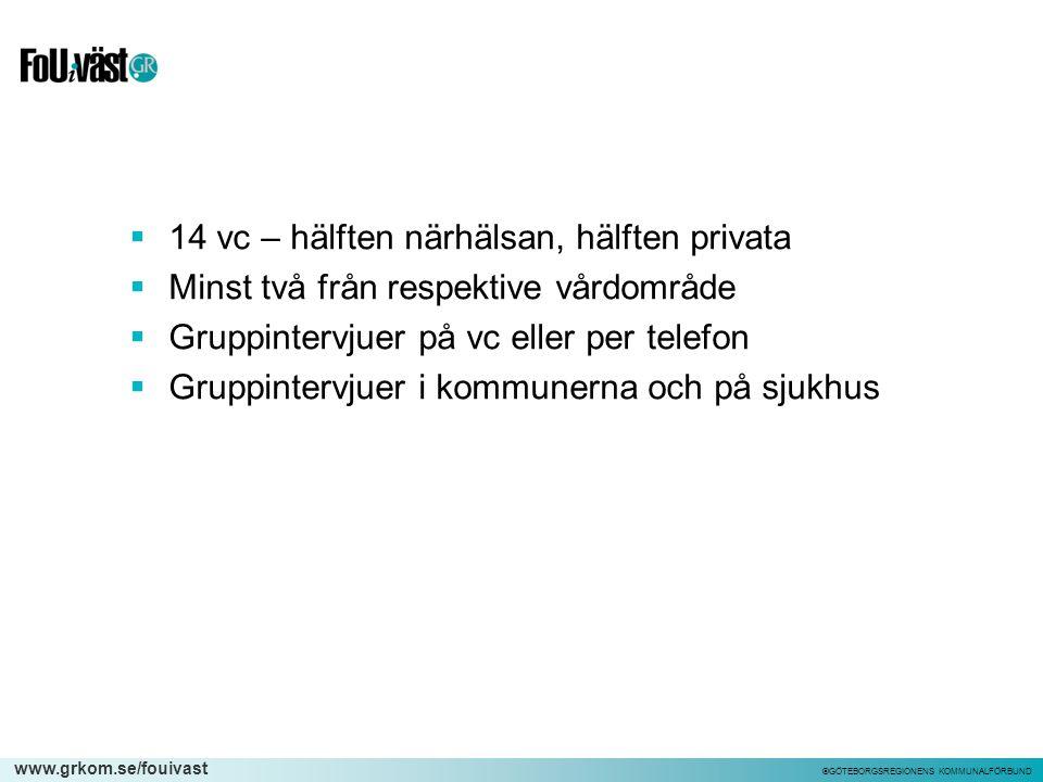 www.grkom.se/fouivast ©GÖTEBORGSREGIONENS KOMMUNALFÖRBUND  14 vc – hälften närhälsan, hälften privata  Minst två från respektive vårdområde  Gruppi