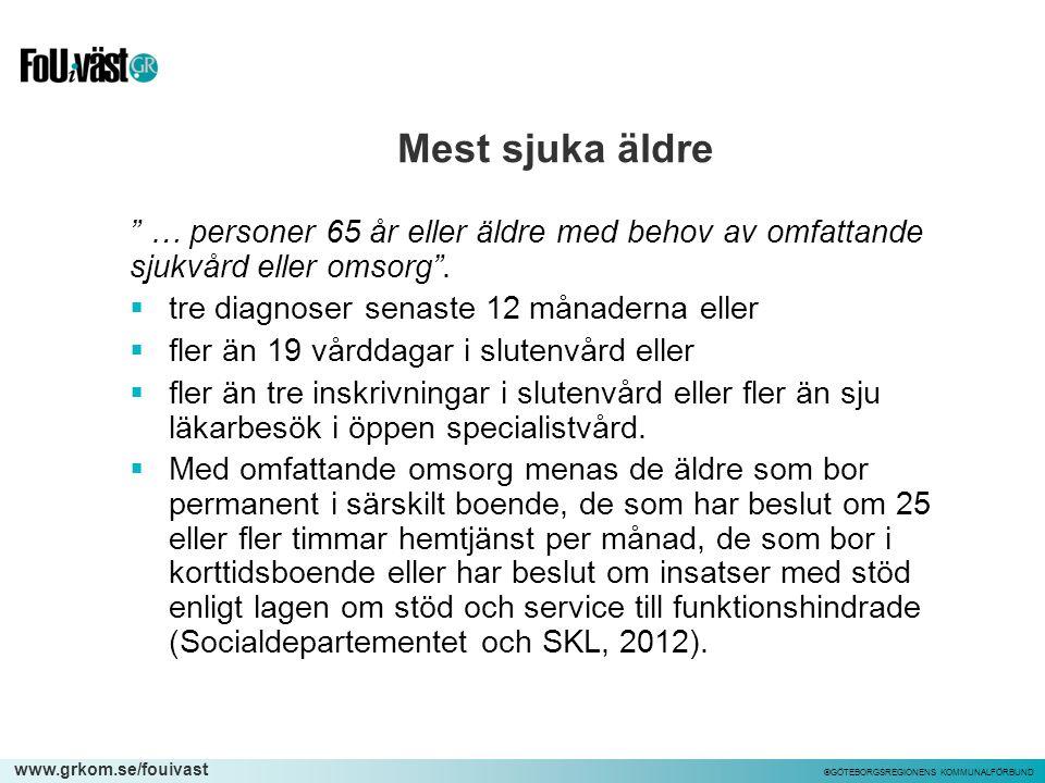 """www.grkom.se/fouivast ©GÖTEBORGSREGIONENS KOMMUNALFÖRBUND Mest sjuka äldre """" … personer 65 år eller äldre med behov av omfattande sjukvård eller omsor"""