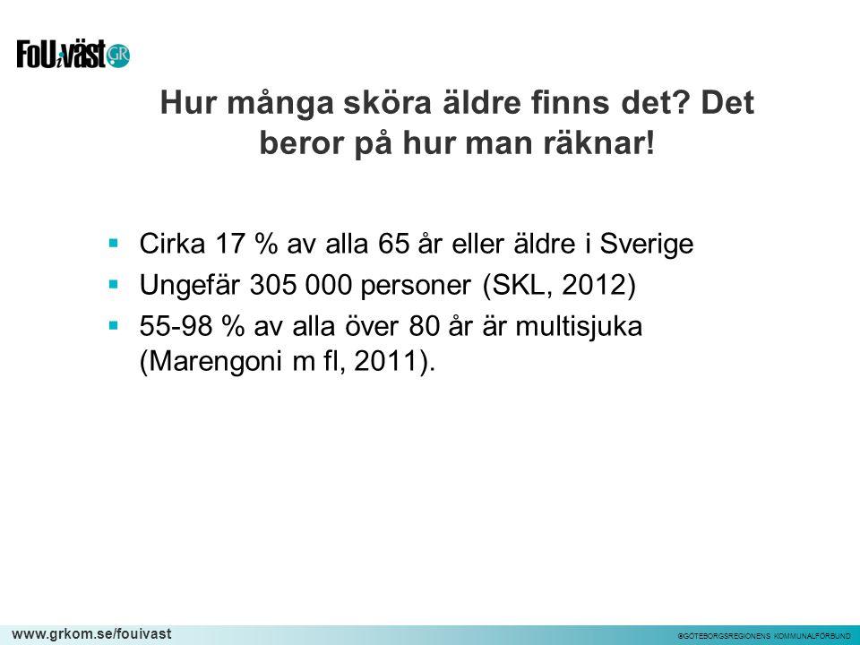 www.grkom.se/fouivast ©GÖTEBORGSREGIONENS KOMMUNALFÖRBUND Hur många sköra äldre finns det? Det beror på hur man räknar!  Cirka 17 % av alla 65 år ell