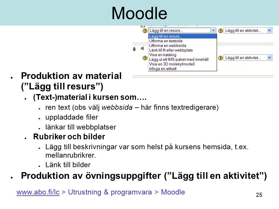 25 Moodle ● Produktion av material ( Lägg till resurs ) ● (Text-)material i kursen som….