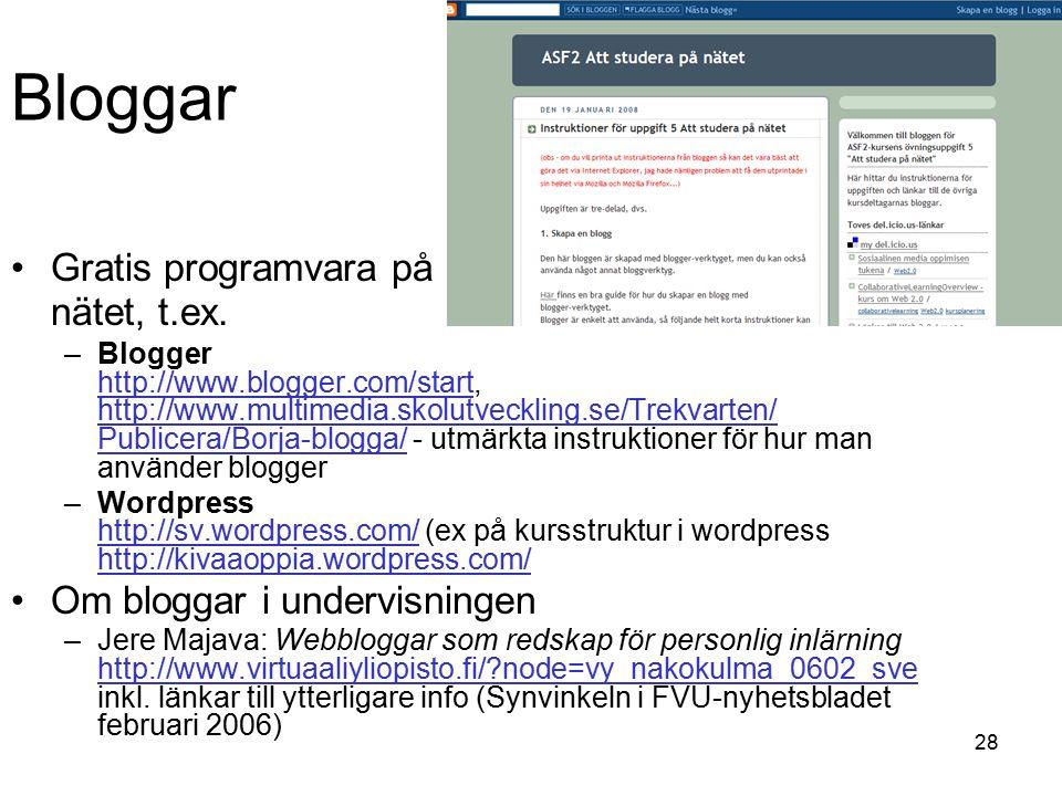 28 Gratis programvara på nätet, t.ex.