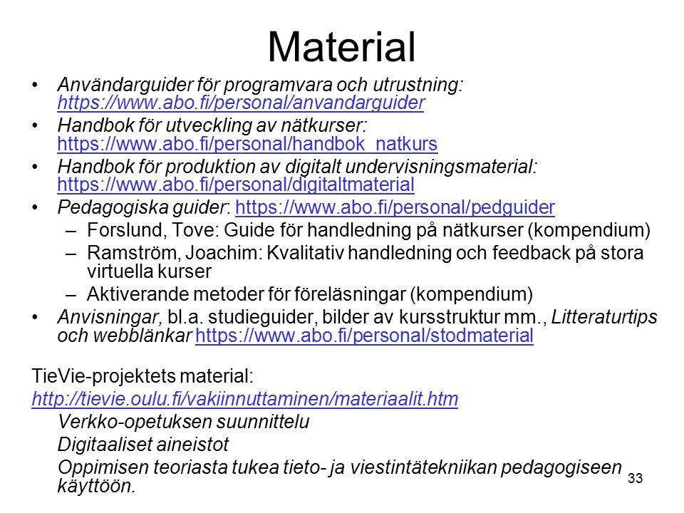 33 Material Användarguider för programvara och utrustning: https://www.abo.fi/personal/anvandarguider https://www.abo.fi/personal/anvandarguider Handbok för utveckling av nätkurser: https://www.abo.fi/personal/handbok_natkurs https://www.abo.fi/personal/handbok_natkurs Handbok för produktion av digitalt undervisningsmaterial: https://www.abo.fi/personal/digitaltmaterial https://www.abo.fi/personal/digitaltmaterial Pedagogiska guider: https://www.abo.fi/personal/pedguiderhttps://www.abo.fi/personal/pedguider –Forslund, Tove: Guide för handledning på nätkurser (kompendium) –Ramström, Joachim: Kvalitativ handledning och feedback på stora virtuella kurser –Aktiverande metoder för föreläsningar (kompendium) Anvisningar, bl.a.