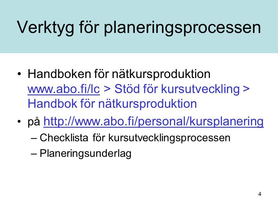 4 Verktyg för planeringsprocessen Handboken för nätkursproduktion www.abo.fi/lc > Stöd för kursutveckling > Handbok för nätkursproduktion www.abo.fi/lc på http://www.abo.fi/personal/kursplanering http://www.abo.fi/personal/kursplanering –Checklista för kursutvecklingsprocessen –Planeringsunderlag