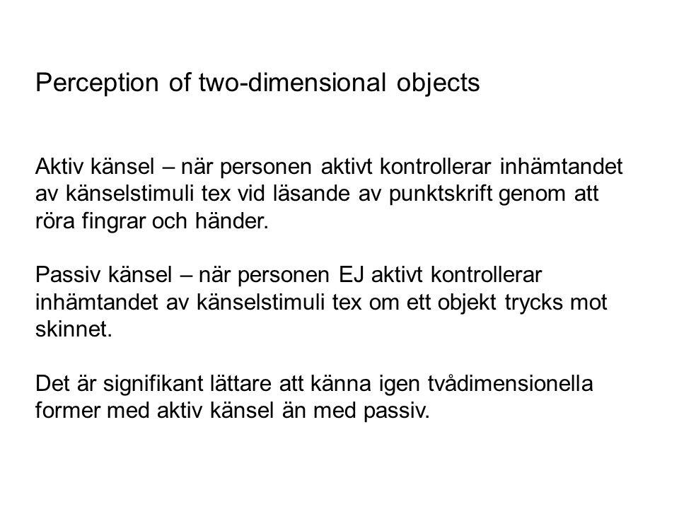 Perception of two-dimensional objects Aktiv känsel – när personen aktivt kontrollerar inhämtandet av känselstimuli tex vid läsande av punktskrift geno