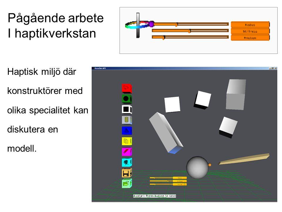 Haptisk miljö där konstruktörer med olika specialitet kan diskutera en modell. Pågående arbete I haptikverkstan