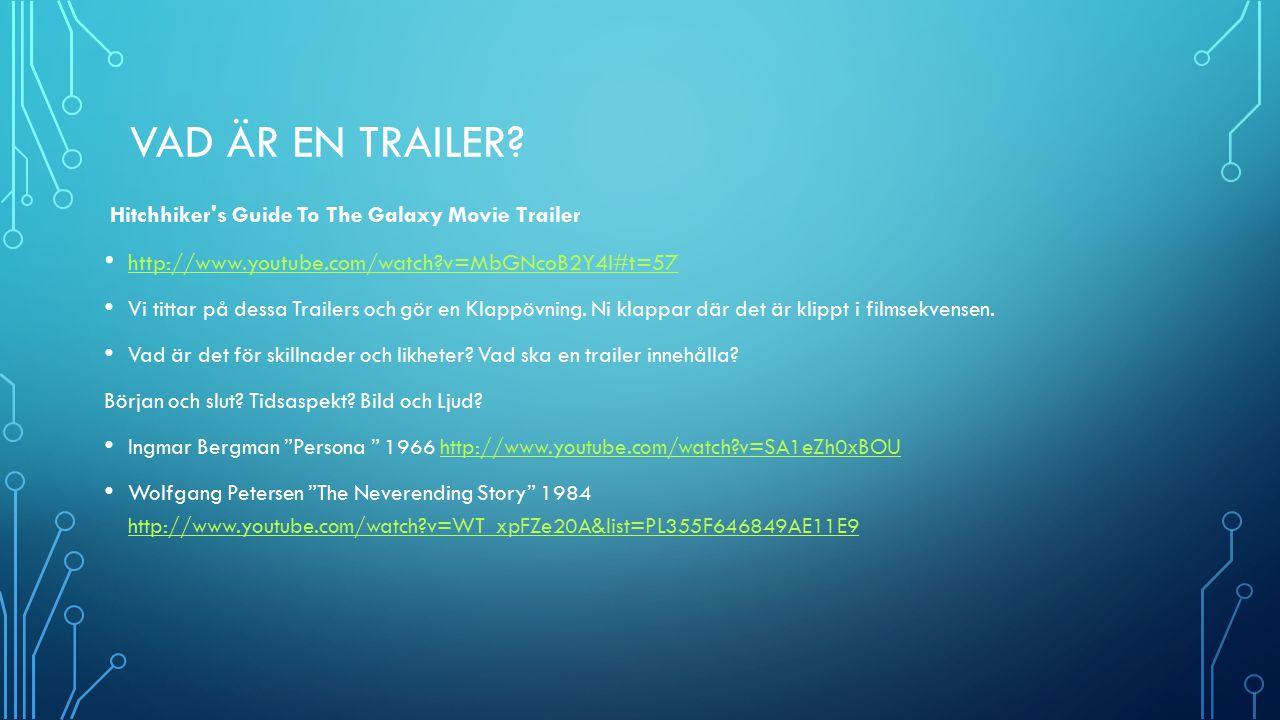 STORYBOARD I ER GRUPP Ska ni göra en trailer för Ljudinstallationen eller musikvideo 1 och 2.