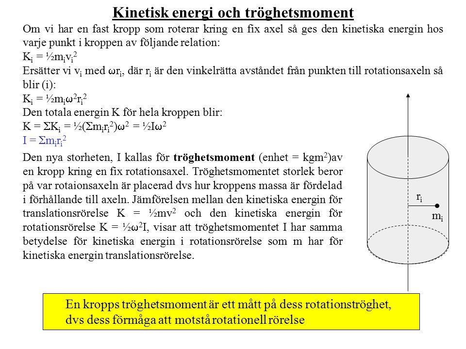 Kinetisk energi och tröghetsmoment Om vi har en fast kropp som roterar kring en fix axel så ges den kinetiska energin hos varje punkt i kroppen av föl
