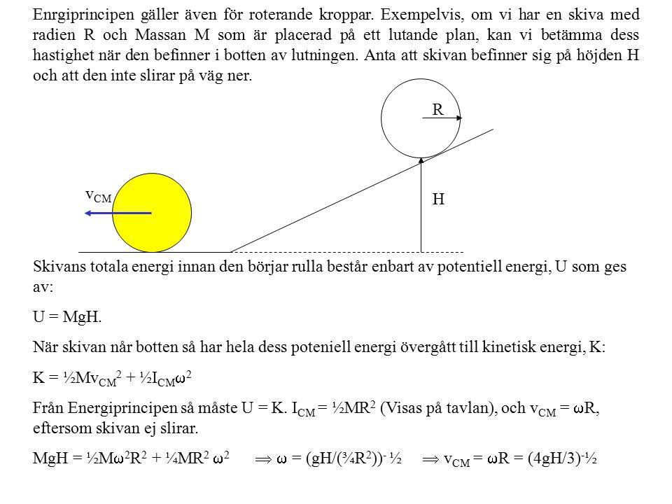 Enrgiprincipen gäller även för roterande kroppar. Exempelvis, om vi har en skiva med radien R och Massan M som är placerad på ett lutande plan, kan vi