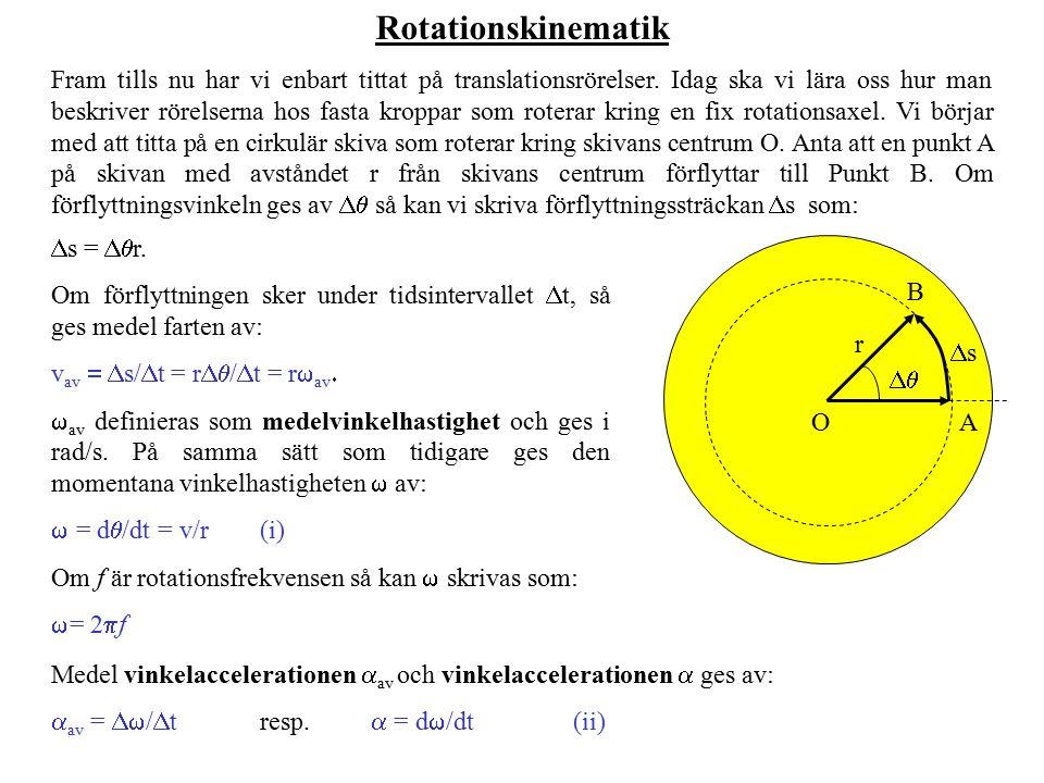 Rotationskinematik Fram tills nu har vi enbart tittat på translationsrörelser. Idag ska vi lära oss hur man beskriver rörelserna hos fasta kroppar som