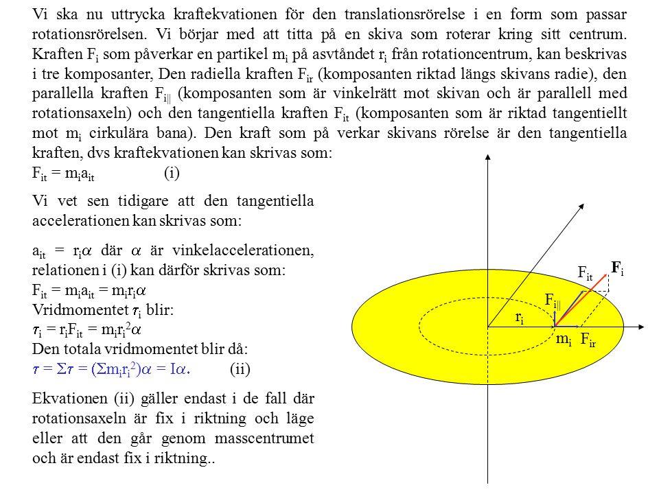 Vi ska nu uttrycka kraftekvationen för den translationsrörelse i en form som passar rotationsrörelsen. Vi börjar med att titta på en skiva som roterar