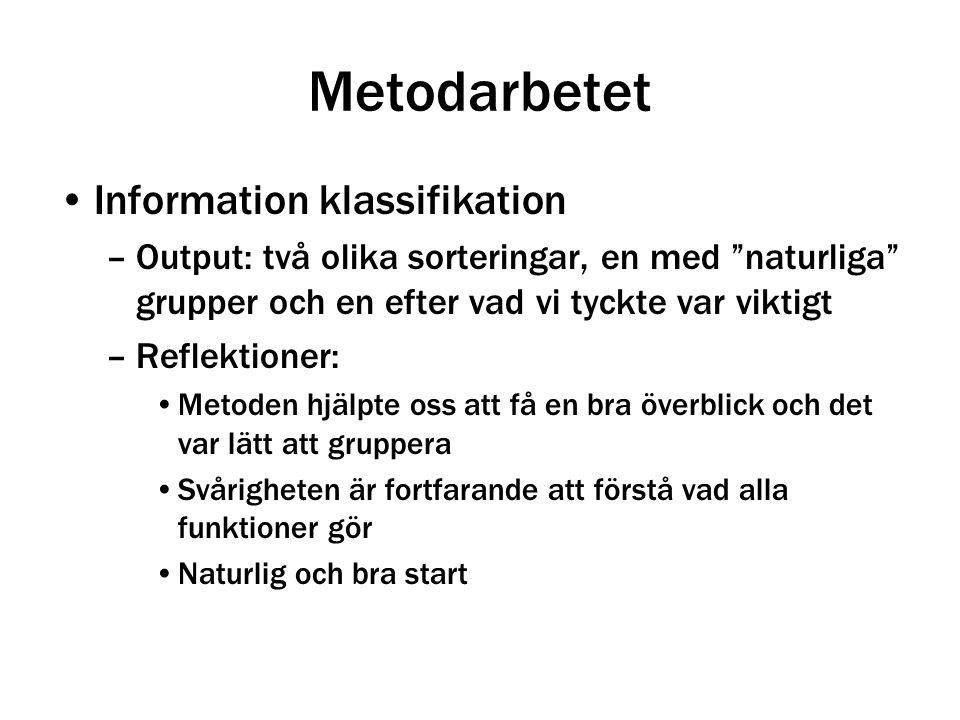 """Information klassifikation –Output: två olika sorteringar, en med """"naturliga"""" grupper och en efter vad vi tyckte var viktigt –Reflektioner: Metoden hj"""
