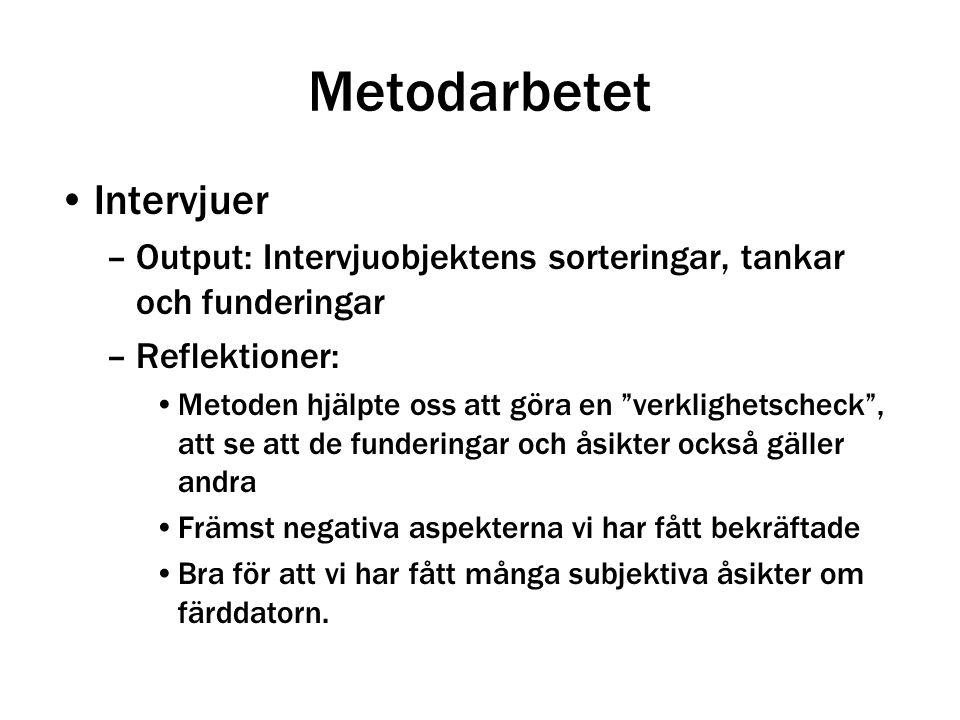"""Metodarbetet Intervjuer –Output: Intervjuobjektens sorteringar, tankar och funderingar –Reflektioner: Metoden hjälpte oss att göra en """"verklighetschec"""