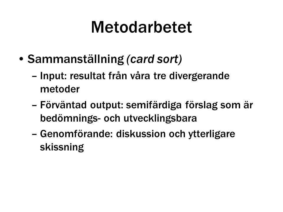 Metodarbetet Sammanställning (card sort) –Input: resultat från våra tre divergerande metoder –Förväntad output: semifärdiga förslag som är bedömnings-