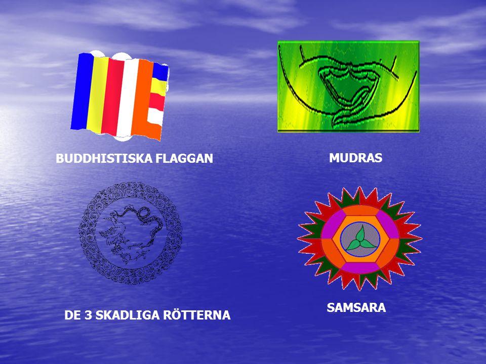 BUDDHISTISKA FLAGGAN MUDRAS DE 3 SKADLIGA RÖTTERNA SAMSARA