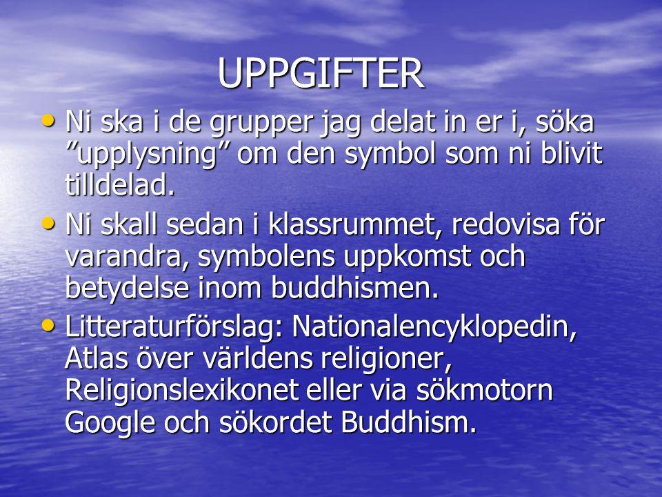 """UPPGIFTER UPPGIFTER Ni ska i de grupper jag delat in er i, söka """"upplysning"""" om den symbol som ni blivit tilldelad. Ni ska i de grupper jag delat in e"""