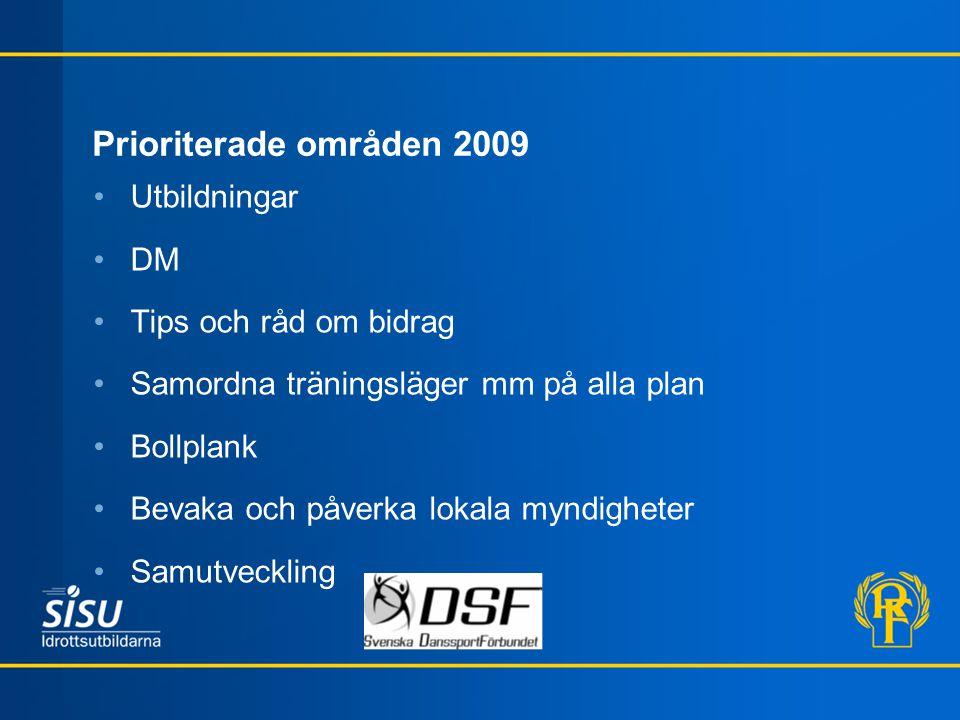 Prioriterade områden 2009 Utbildningar DM Tips och råd om bidrag Samordna träningsläger mm på alla plan Bollplank Bevaka och påverka lokala myndighete