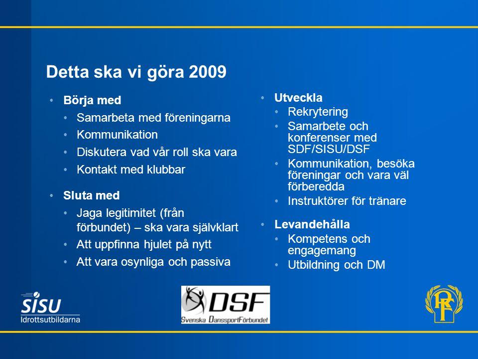 Detta ska vi göra 2009 Börja med Samarbeta med föreningarna Kommunikation Diskutera vad vår roll ska vara Kontakt med klubbar Sluta med Jaga legitimit