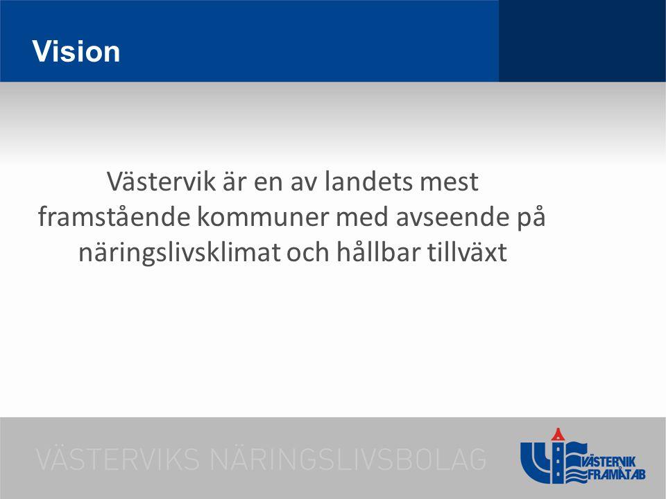 Vision Västervik är en av landets mest framstående kommuner med avseende på näringslivsklimat och hållbar tillväxt