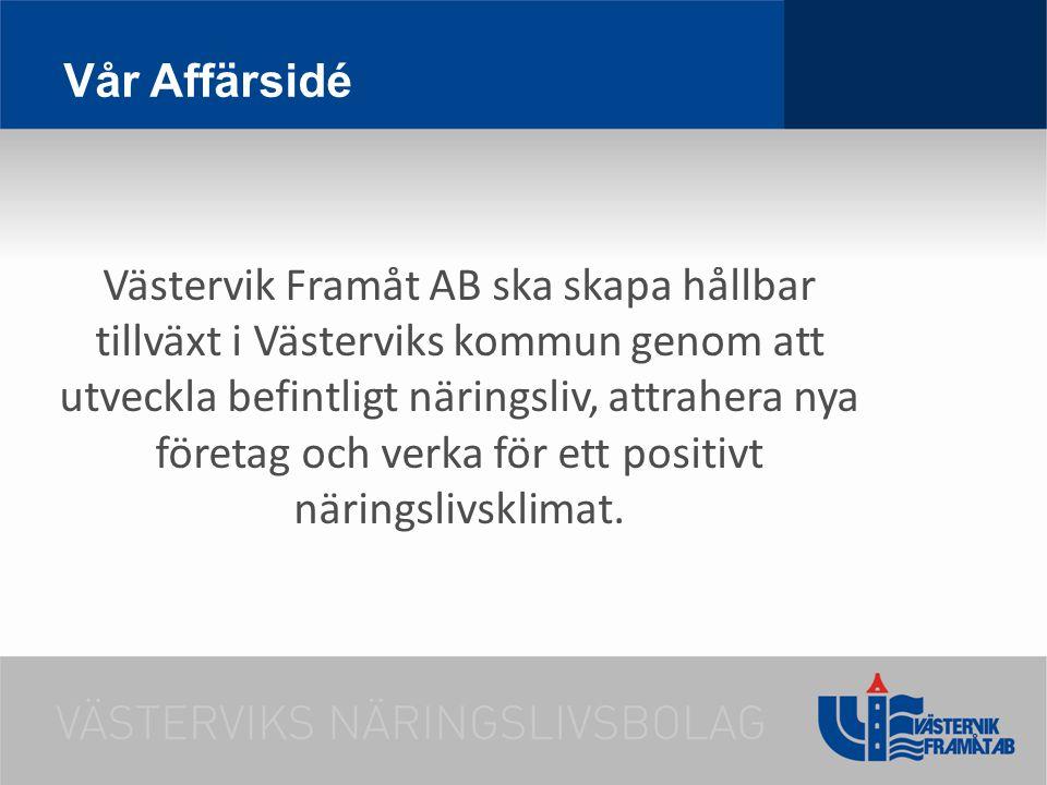 Vår Affärsidé Västervik Framåt AB ska skapa hållbar tillväxt i Västerviks kommun genom att utveckla befintligt näringsliv, attrahera nya företag och v