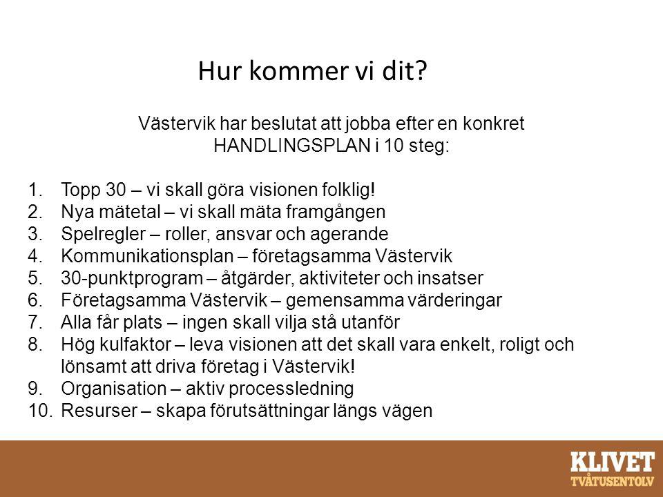 Hur kommer vi dit? Västervik har beslutat att jobba efter en konkret HANDLINGSPLAN i 10 steg: 1.Topp 30 – vi skall göra visionen folklig! 2.Nya mäteta