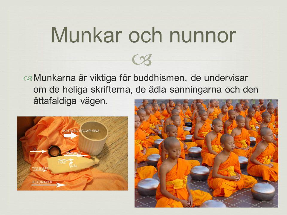 11   Munkarna är viktiga för buddhismen, de undervisar om de heliga skrifterna, de ädla sanningarna och den åttafaldiga vägen.