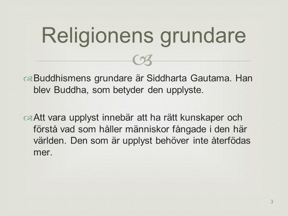 3   Buddhismens grundare är Siddharta Gautama.Han blev Buddha, som betyder den upplyste.