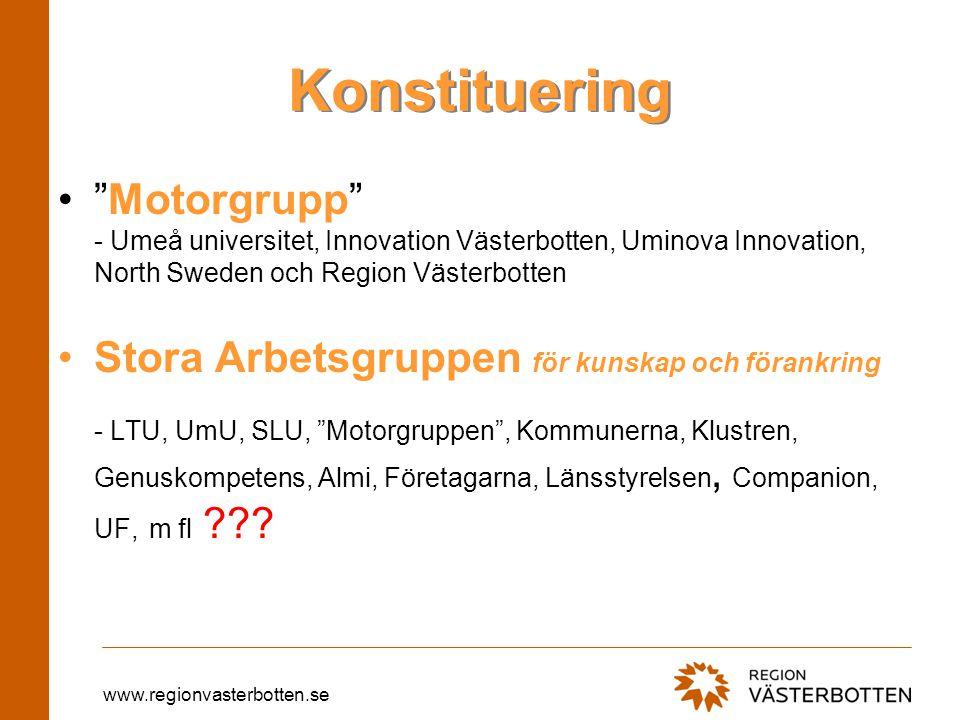 """www.regionvasterbotten.se Konstituering """"Motorgrupp"""" - Umeå universitet, Innovation Västerbotten, Uminova Innovation, North Sweden och Region Västerbo"""