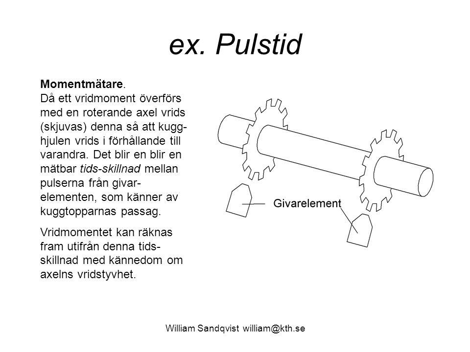 William Sandqvist william@kth.se ex. Pulstid Momentmätare. Då ett vridmoment överförs med en roterande axel vrids (skjuvas) denna så att kugg- hjulen