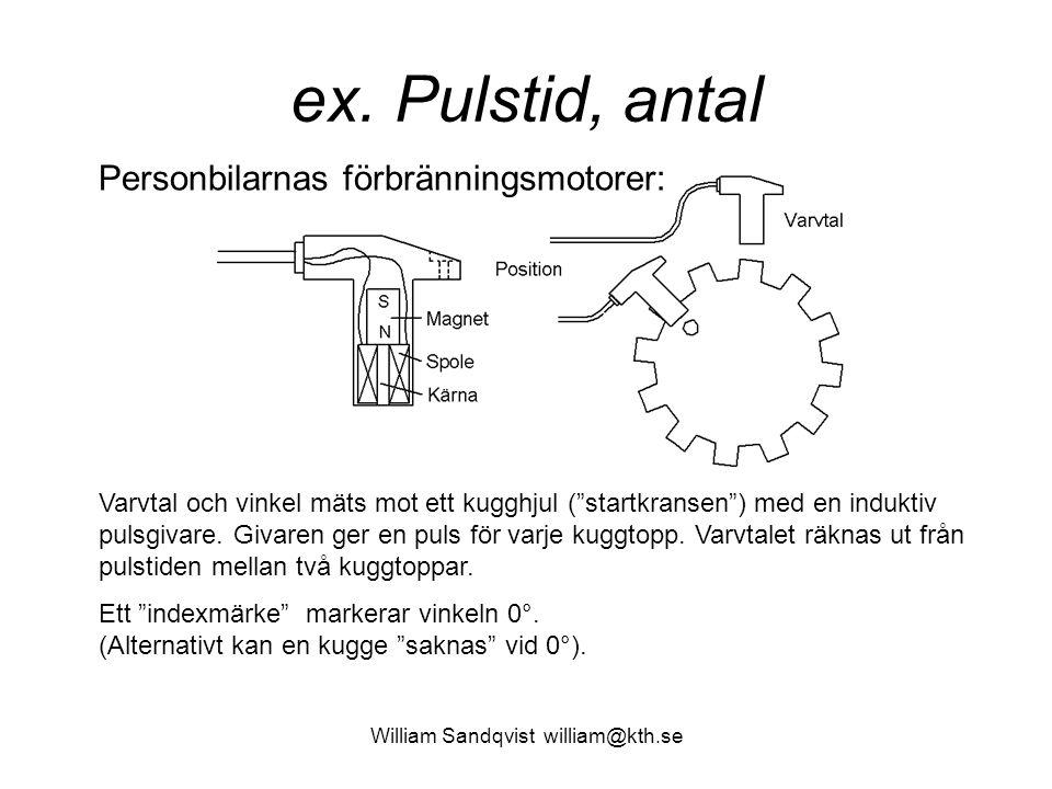 """William Sandqvist william@kth.se ex. Pulstid, antal Varvtal och vinkel mäts mot ett kugghjul (""""startkransen"""") med en induktiv pulsgivare. Givaren ger"""