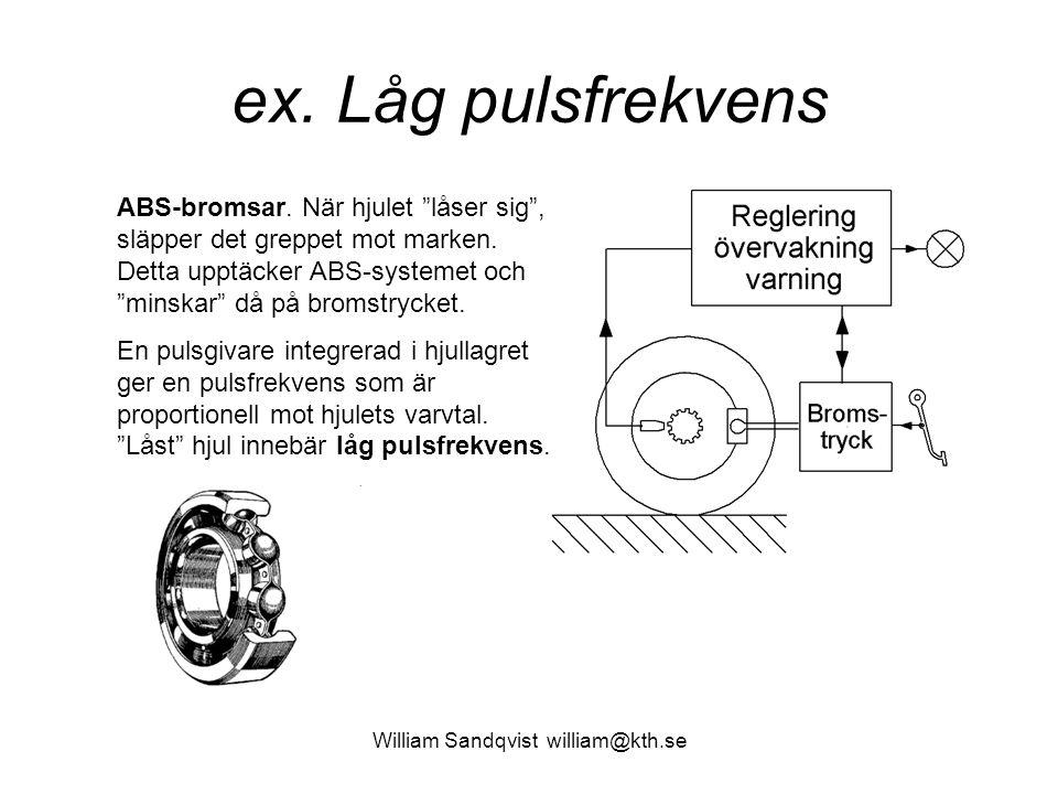 """William Sandqvist william@kth.se ex. Låg pulsfrekvens ABS-bromsar. När hjulet """"låser sig"""", släpper det greppet mot marken. Detta upptäcker ABS-systeme"""