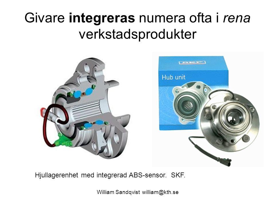 William Sandqvist william@kth.se Givare integreras numera ofta i rena verkstadsprodukter Hjullagerenhet med integrerad ABS-sensor. SKF.