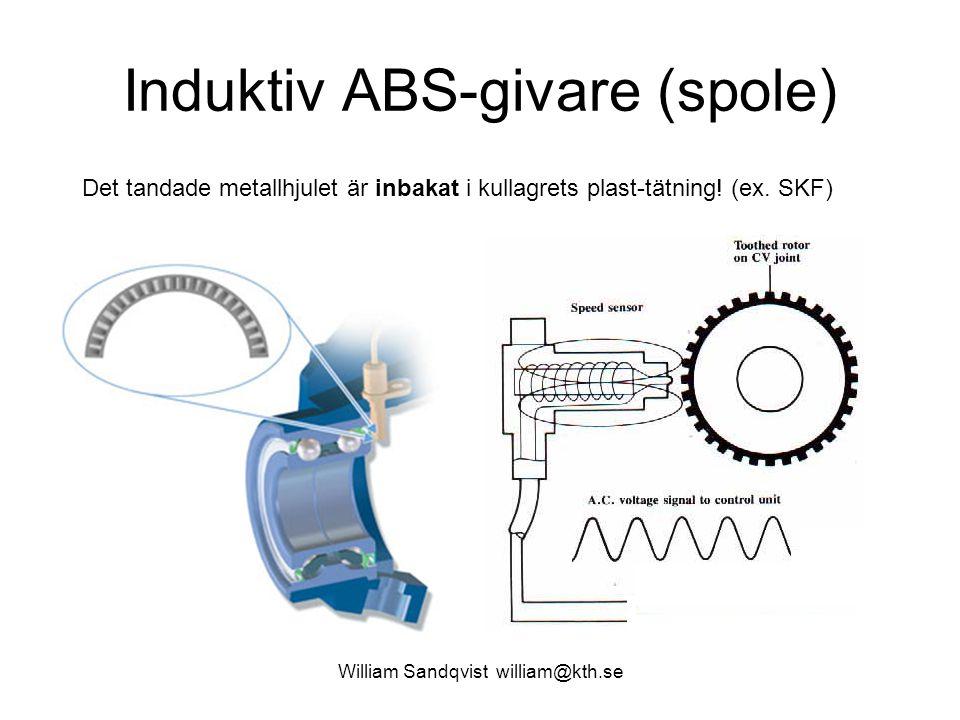 William Sandqvist william@kth.se Induktiv ABS-givare (spole) Det tandade metallhjulet är inbakat i kullagrets plast-tätning! (ex. SKF)