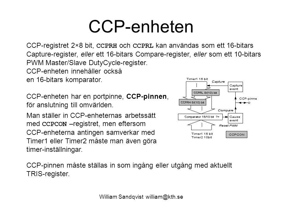 William Sandqvist william@kth.se CCP-enheten CCP-registret 2×8 bit, CCPRH och CCPRL kan användas som ett 16-bitars Capture-register, eller ett 16-bitars Compare-register, eller som ett 10-bitars PWM Master/Slave DutyCycle-register.