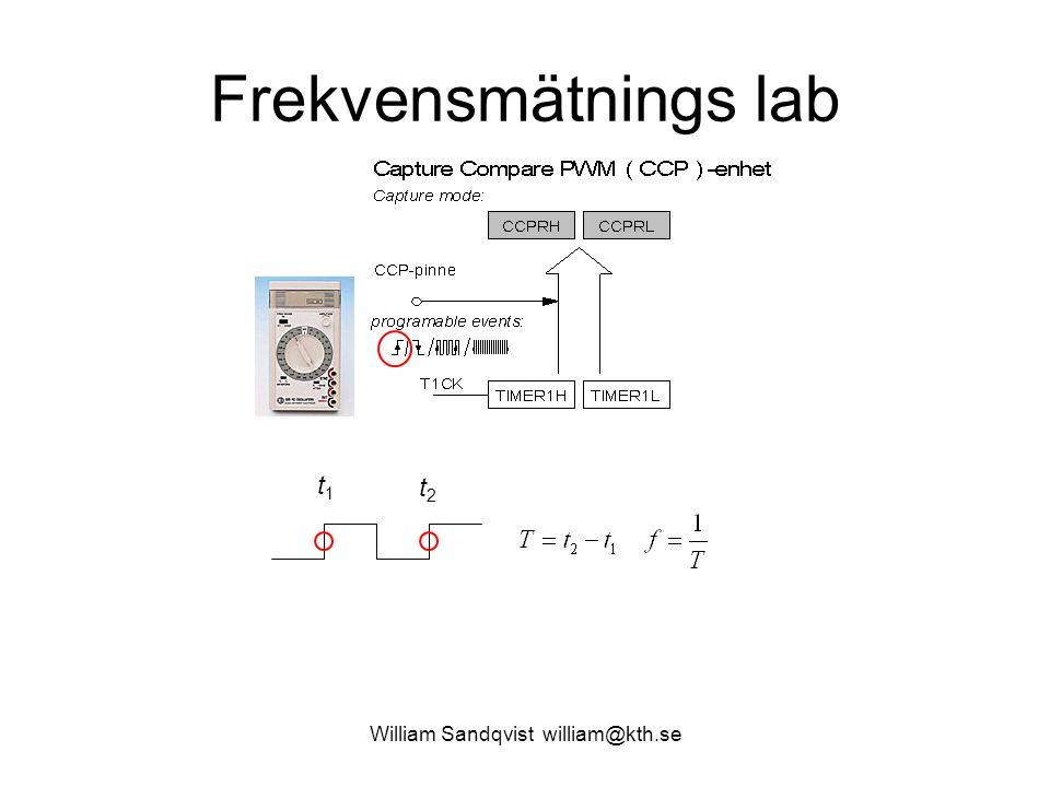 William Sandqvist william@kth.se Frekvensmätnings lab t1t1 t2t2