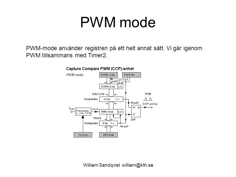 William Sandqvist william@kth.se PWM mode PWM-mode använder registren på ett helt annat sätt. Vi går igenom PWM tillsammans med Timer2.