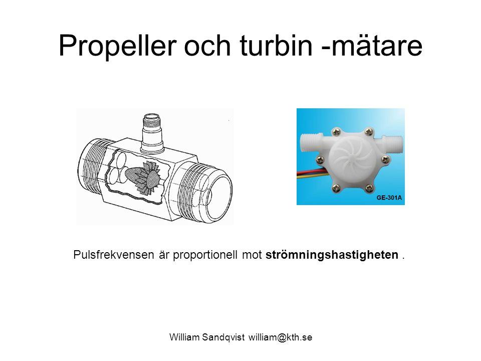 Propeller och turbin -mätare William Sandqvist william@kth.se Pulsfrekvensen är proportionell mot strömningshastigheten.