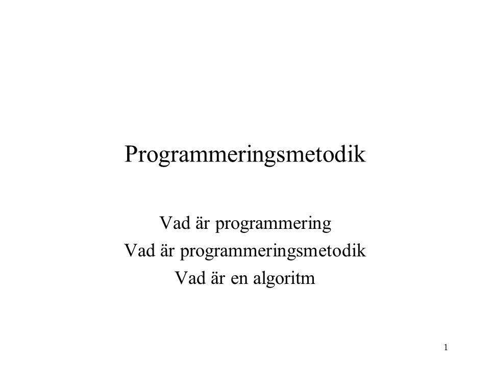 1 Programmeringsmetodik Vad är programmering Vad är programmeringsmetodik Vad är en algoritm