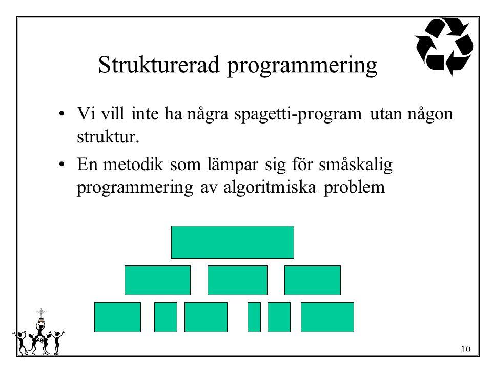 10 Strukturerad programmering Vi vill inte ha några spagetti-program utan någon struktur. En metodik som lämpar sig för småskalig programmering av alg