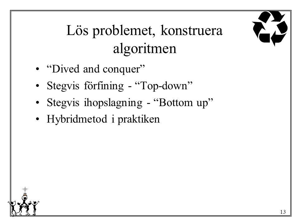 "13 Lös problemet, konstruera algoritmen ""Dived and conquer"" Stegvis förfining - ""Top-down"" Stegvis ihopslagning - ""Bottom up"" Hybridmetod i praktiken"